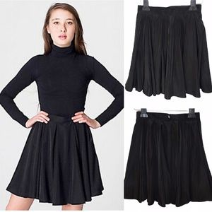 American Apparel Black Gore Pleated Skater Skirt